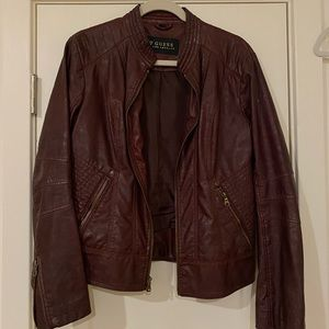 GUESS - Burgundy Leather Jacket